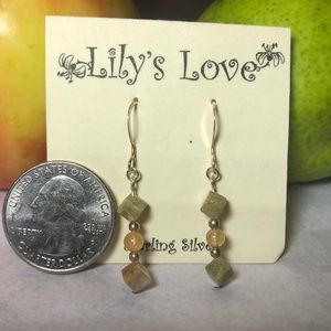 Unakite and Peach Adventurine Earrings